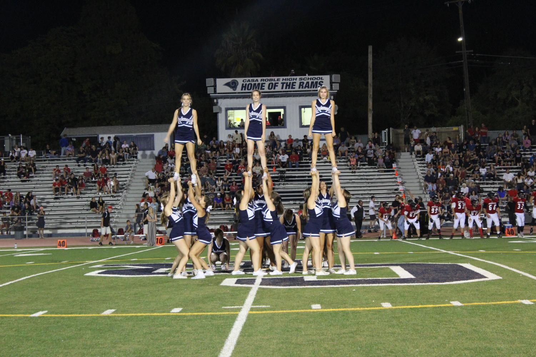 Oakmont cheerleaders performing at halftime.