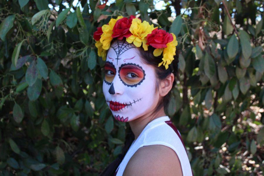 Sophomore Edith Gonzalez Lopezs face painted as a calavera de azucar.