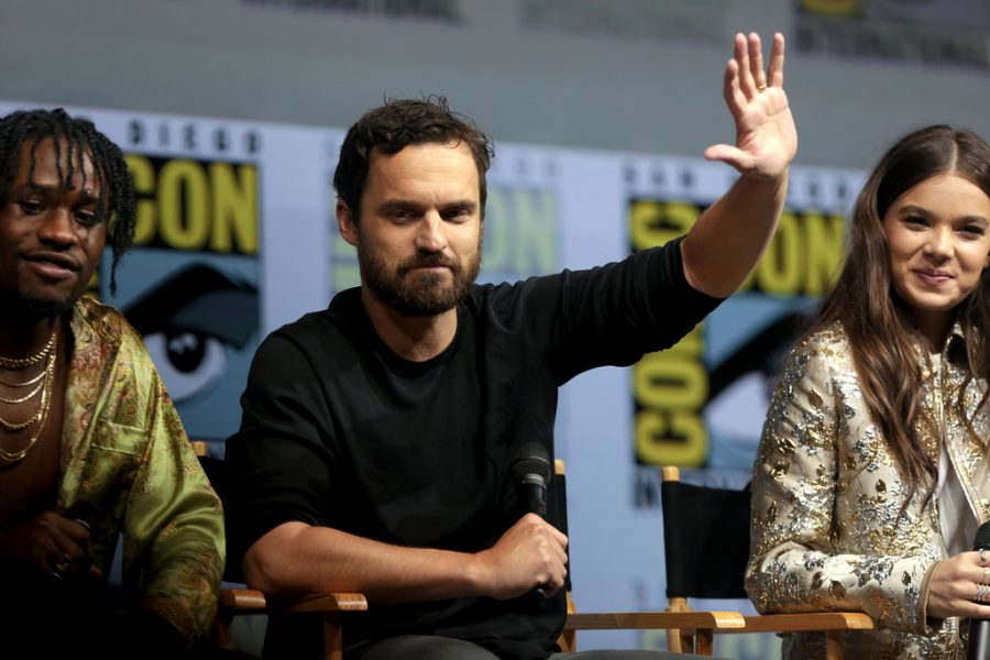 Into The Spider-Verse cast, from left to right: Shamiek Moore (Miles Morales), Jake Johnson (Peter Parker), and Hailee Steinfeld (Spider-Gwen)