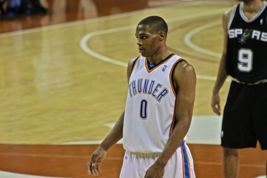 Russell Westbrook, leader in total triple-doubles since he was drafted in 2008 by the Seattle Supersonics (photo by Aaron Vasquez)