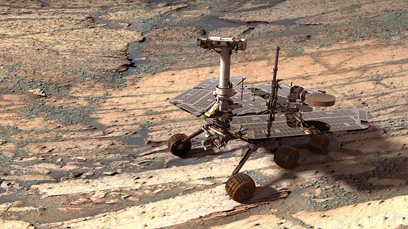 Synthetic image of NASAs Opportunity Mars Exploration Rover (image by NASA/JPL-Solar System Visualization Team)