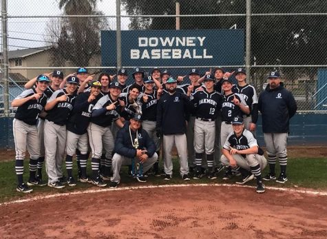 Photo of the varsity baseball team after winning the tournament in Modesto