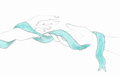 Hands wrapped together by the Sexual Assault Awareness ribbon.