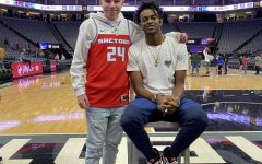 Freshman Noah Rush with Sacramento Kings point guard De'Aaron Fox.