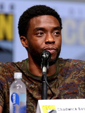 Actor Chadwick Boseman pictured at Comic Con in July 2017 while talking about Black Panther.