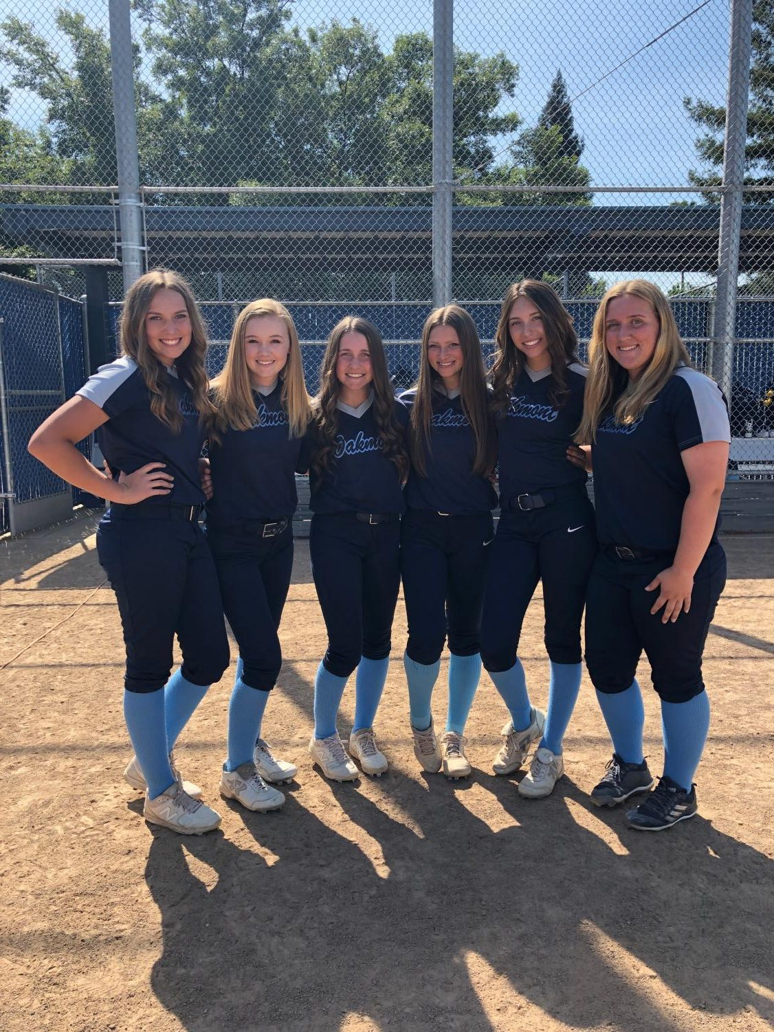 Senior Kailer Fulton, third from the left, pictured with five of her teammates.