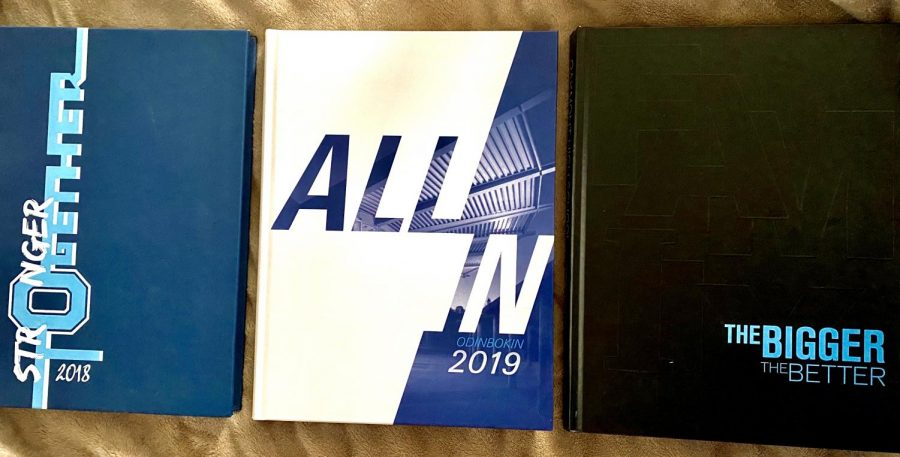 The yearbooks created in the past three years at Oakmont.