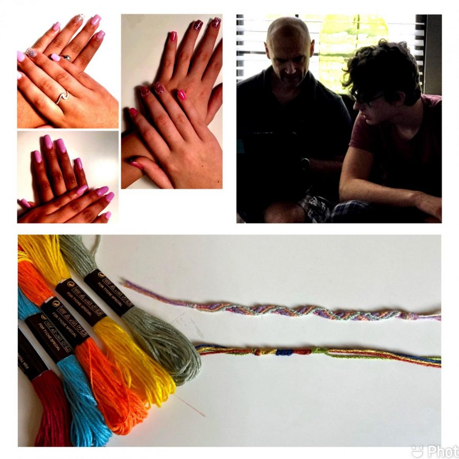 Top left: A few clients of Alexandria Antuzzi's nail business.  Top right: Mason Harder spending time with a professional coder.  Bottom: Some friendship bracelets that Peyton Cook has made.