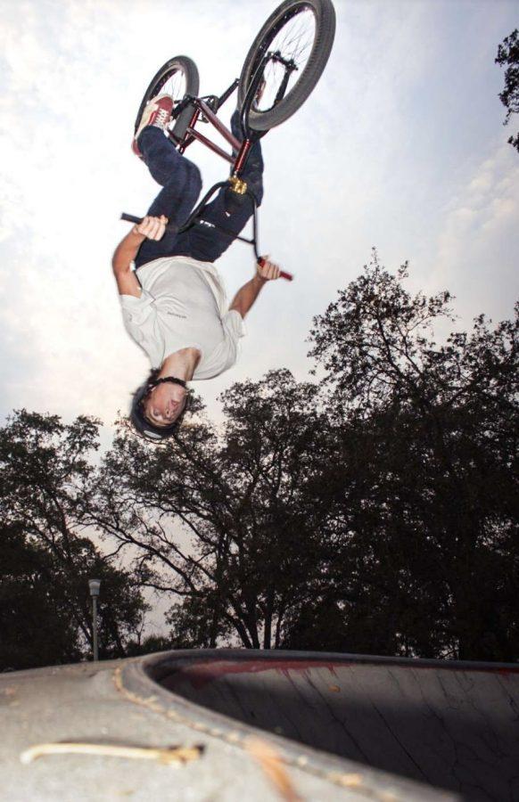 Austin Martin performing a backflip at Rusch Skatepark in Citrus Heights.