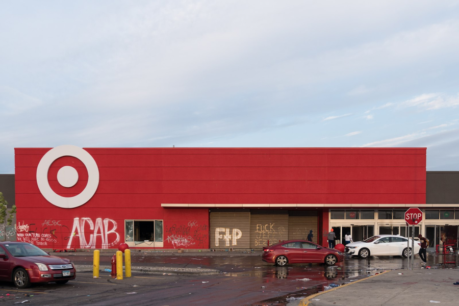 A Target store in Minneapolis, Minnesota that was looted and graffitied after a night of protests on May 28, 2020.