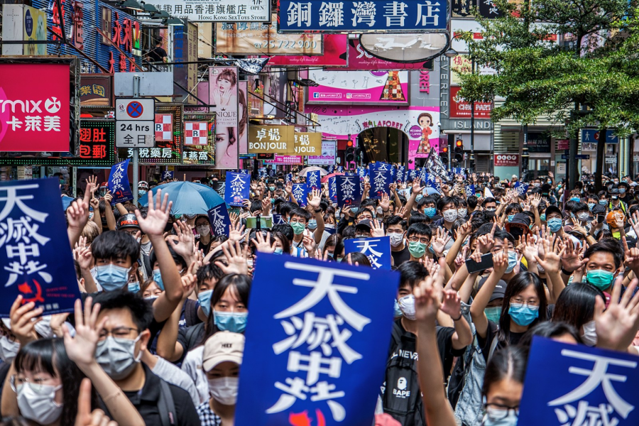 Protesters in Hong Kong on May 24, 2020.