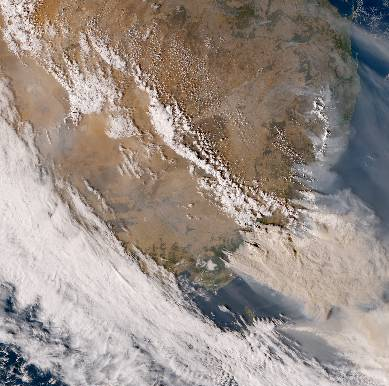 The view of the Australian bushfires from Himawari 1 on January 4, 2020.