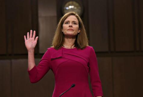 Amy Coney Barrett being sworn in as the newest Supreme Court Justice on October 26.