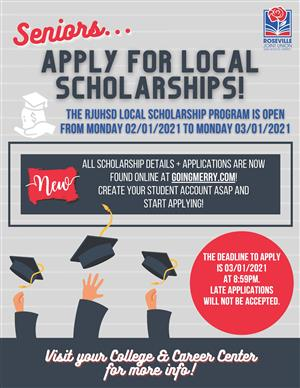 Flyer for the RJUHSD scholarship program.