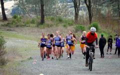 Varsity Girls running in their first meet since last season.