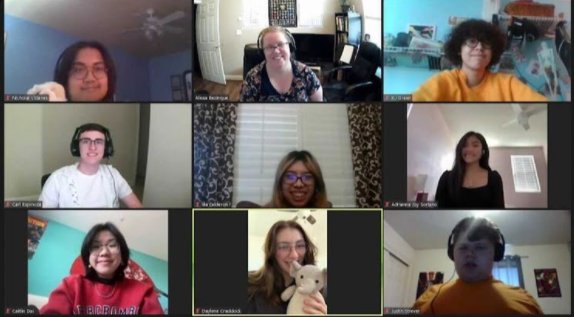The Oakmont Vocal Vikings Club in one of their weekly Zoom club meeting.