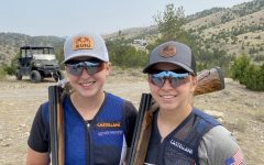 Emily Sjoberg (left) and Sarah Sjoberg (right) in Montana during the Western Regional shoot in April.