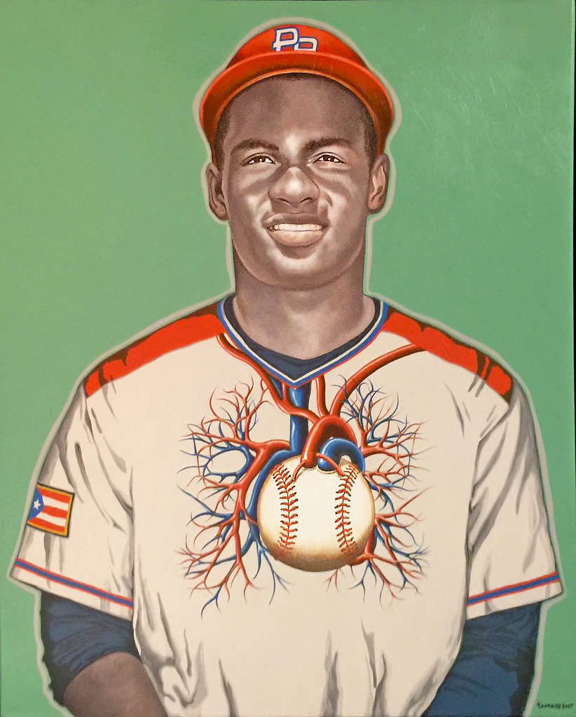 A drawing of Roberto Clemente.