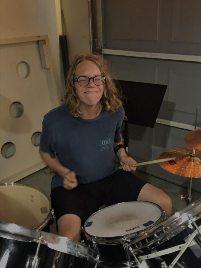 Even as a guitarist, Shatovkin has fun on the drums.